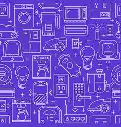 Smart home seamless pattern in line style vector