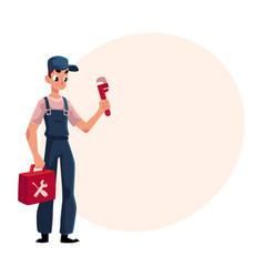Smiling plumbing specialist plumber standing vector
