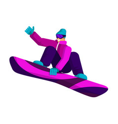 snowboarder in a sports winter suit makes a vector image