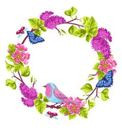 Spring garden frame natural with vector