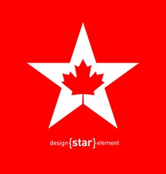 Star with Canadian maple Leaf vector image