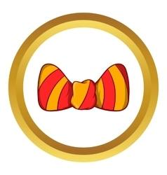 Striped bow tie icon cartoon style vector