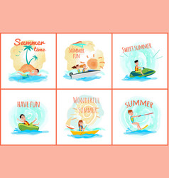 Summer time posters collection vector