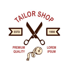 Tailor shop emblem template design element for vector