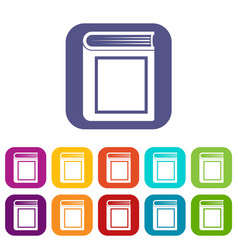 Thick book icons set vector