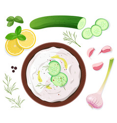 tzatziki sauce with ingredients on white vector image