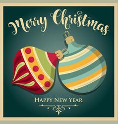 vintage christmas card with christmas balls vector image