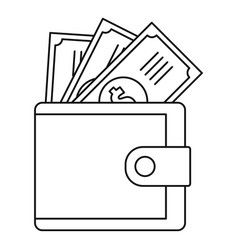 Wallet icon outline style vector
