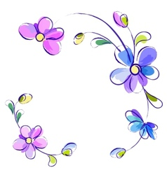 White background with flowers vector image