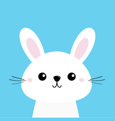white bunny rabbit cute kawaii cartoon character vector image