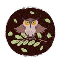 Wild cartoon owl on branch grunge card or emblem vector
