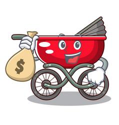 with money bag cartoon baby stroller walk in the vector image