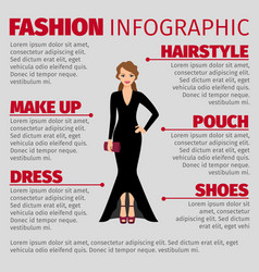 Woman in evening dress fashion infographic vector