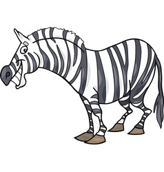 cartoon illustration of funny african zebra vector image vector image