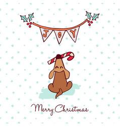 christmas cute puppy dog cartoon greeting card vector image vector image
