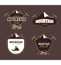 Mountain exploration retro emblems labels vector image vector image