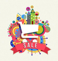 Shopping cart icon sale label with color shapes vector image vector image