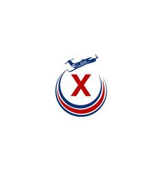 Airplane logo initial x vector