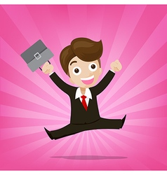 Businessman jumping with joy on sunburst pink vector image vector image