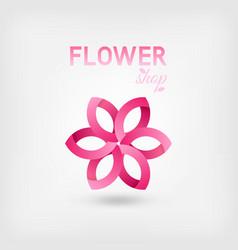 flower shop logo design pink color vector image