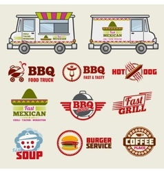 Food truck emblems and vehicle template vector image