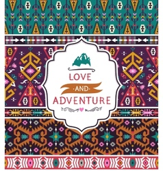 Seamless aztec pattern with geometric elements vector image