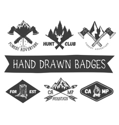 set of hand drawn forest camp labels in vector image