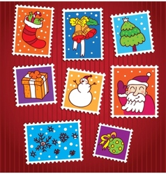 collection of christmas stamps vector image