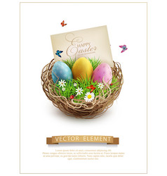 easter eggs in a wicker nest green grass and vector image