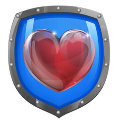Heart shield concept vector