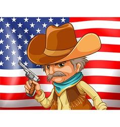 US flag and cowboy vector image