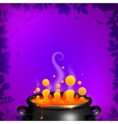 Yellow potion in black cauldron on orange vector
