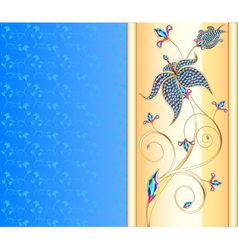blue background with the Golden flower vector image vector image