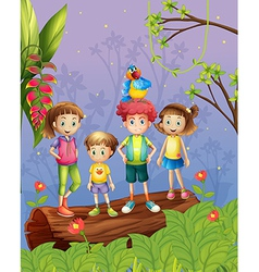 Children with one colorful parrot in the forest vector