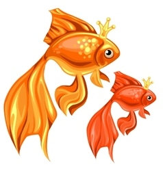 Two beautiful goldfish with magic crowns vector image