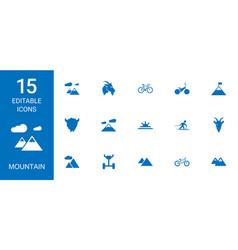 15 mountain icons vector