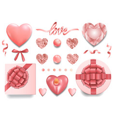 A pink objects set for romantic holidays vector