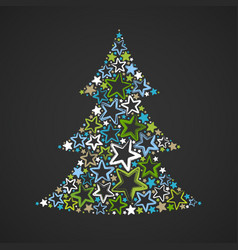 abstract christmas tree made multicolored stars vector image