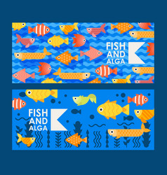 Abstract colorful fish icons in flat style vector