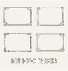 Art deco horizontal black frames and borders set vector