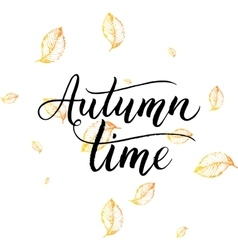 Autumn time text - hand painted lettering with vector