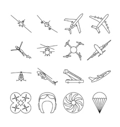 Aviation thin line icons set vector image