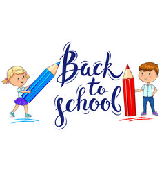 Back to school inscription and ute kids with vector