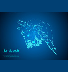 Bangladesh map with nodes linked lines concept vector