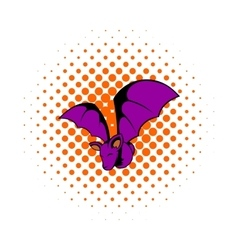 Bat icon in comics style vector image