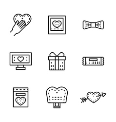 Black line wedding icons set vector image