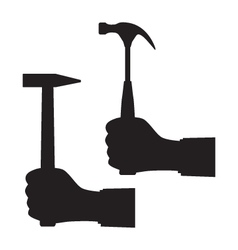 Black silhouette of a hand with a hammer vector image