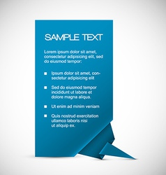 Blue card with origami corner vector image
