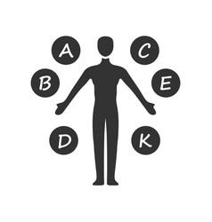 Body vitamins glyph icon a b c d e k vector