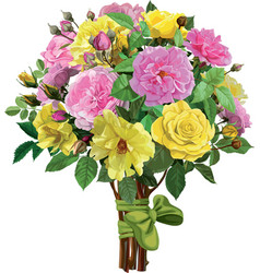Bouquet of pink and yellow roses vector